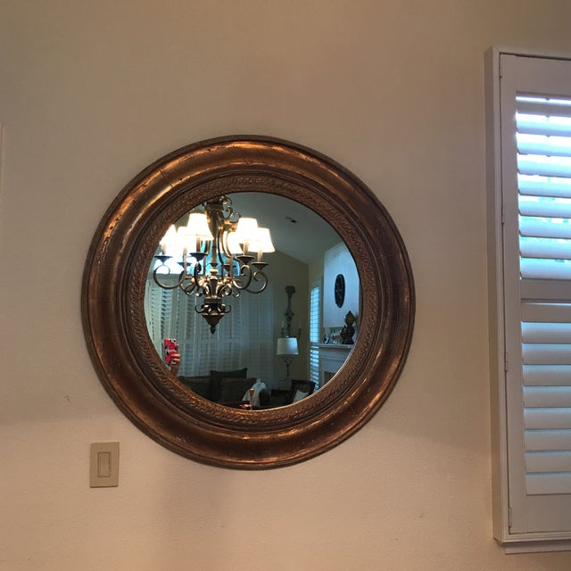 Distressed Wood Gold Wall Mirror