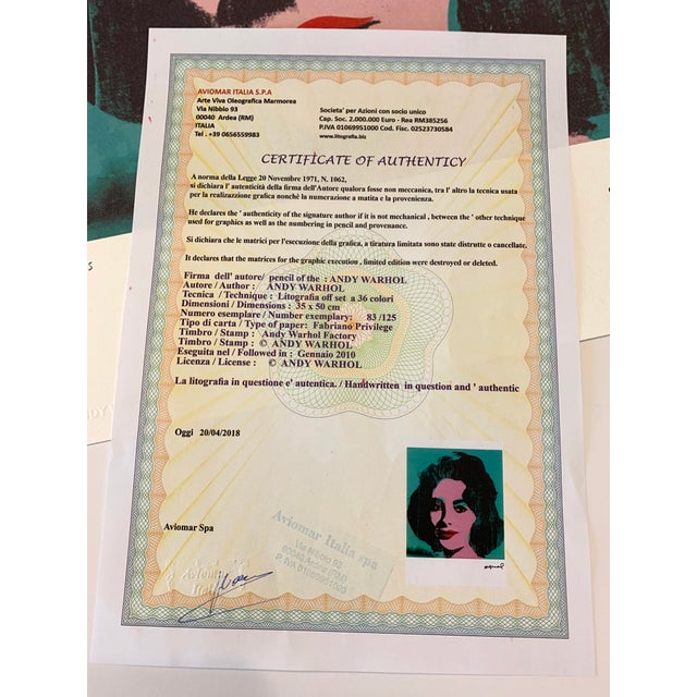 """Turquoise Andy Warhol Limited Edition """"Liz, 1964"""" Stone Signed, Numbered, and Authenticated Lithograph For Sale - Image 10 of 12"""