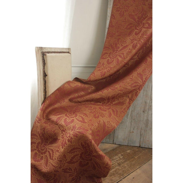 Red Antique French Fabric 19th Century Jacquard Weave Furnishing Rust Tone For Sale - Image 8 of 12