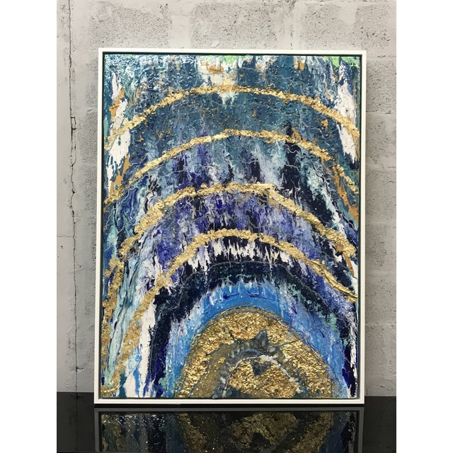 Abstract Framed Oil Painting With Resin and Rock Crystal on Canvas by Franchy For Sale - Image 13 of 13