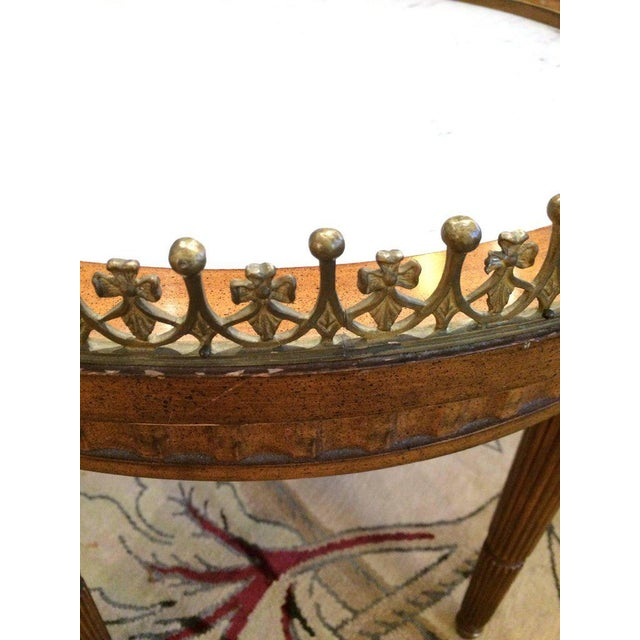 French Carved Wood & Marble Cocktail Side Table - Image 2 of 9