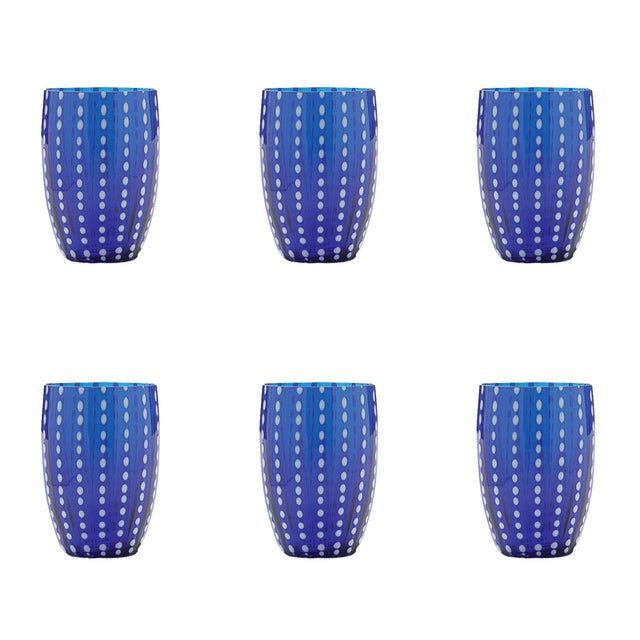 Contemporary Perle Tumbler in Blue - Set of 6 For Sale - Image 3 of 3