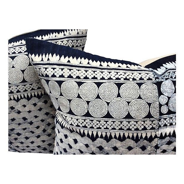 Tribal Indigo Batik Pillows - Pair - Image 2 of 6