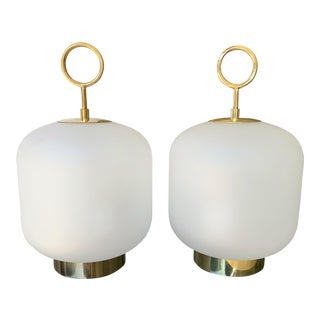 Contemporary Murano Glass Brass Ring Medium Can Lamps - a Pair For Sale