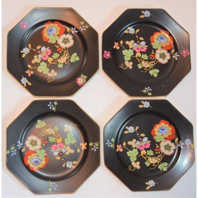 Black 1920s Antique Art Deco Black and Floral Plates - Set of 4 For Sale - Image 8 of 12