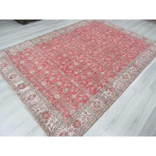 Vintage Floral Turkish Rug - - Image 5 of 6