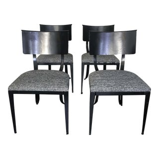 Klismos Style Black & White Dining Chairs - Set of 4