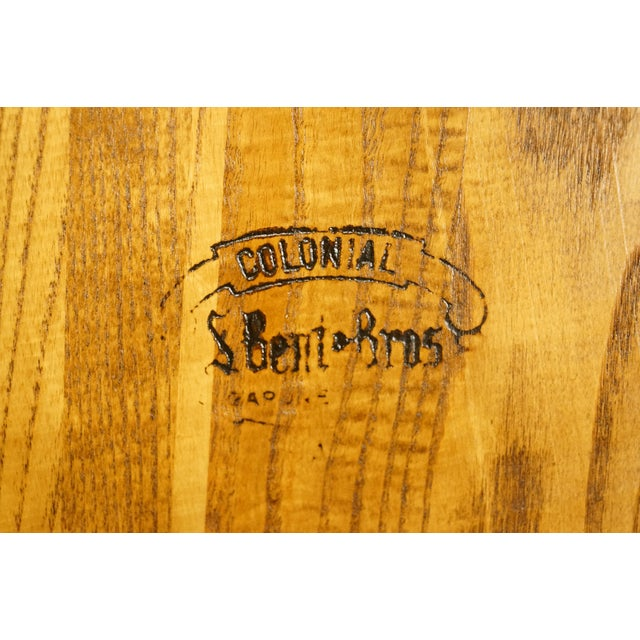 Late 20th Century Vintage S. Bent Bros. Grand Rapids Solid Oak Country Style Dining Side Chair For Sale - Image 9 of 11