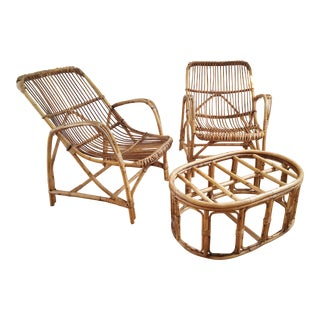Vintage Rattan Lounge Chairs & Ottoman - 3 Pieces For Sale