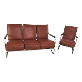 Vintage 1950's Vinyl Brown Couch and Chair Set- 2 Pieces For Sale