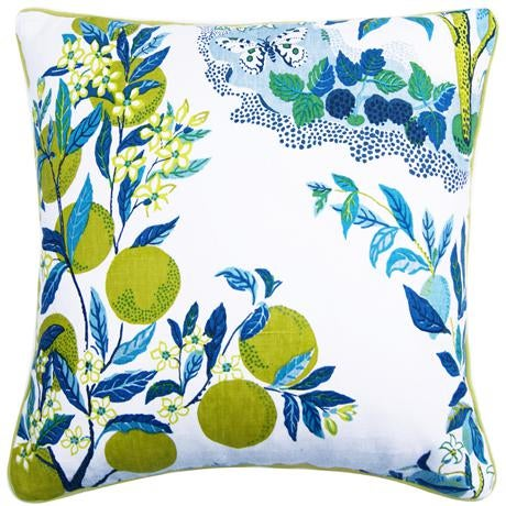 """Citrus Garden"" Schumacher Josef Frank Blue & White Pillow Cover - Image 2 of 6"