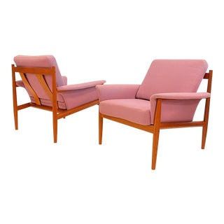 Early Grete Jalk Pink Chairs - a Pair For Sale