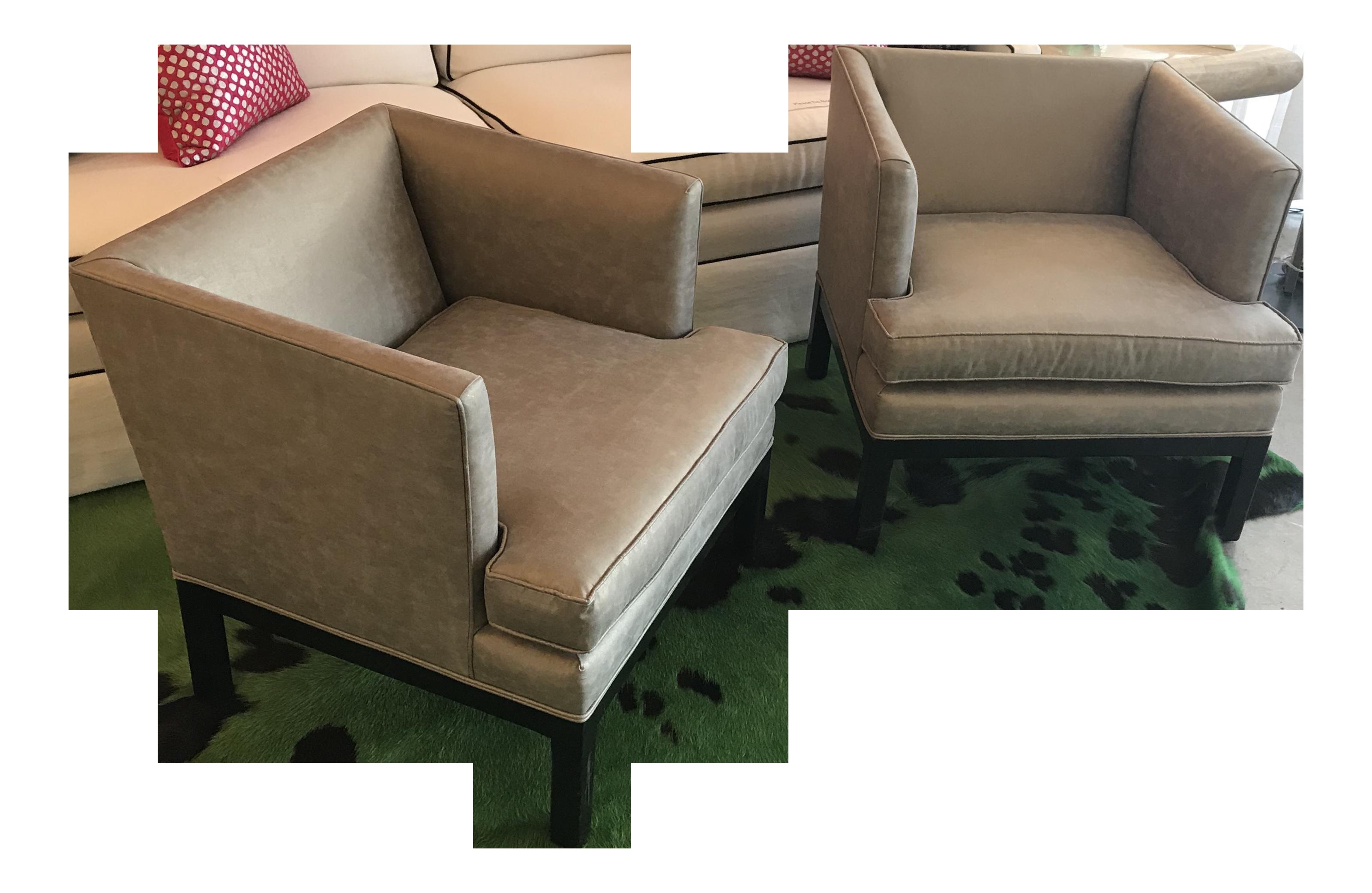Mid Century Restored Tuxedo Chairs   A Pair