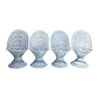 Russell Woodard Spun Fiberglass Rounded Back Chairs - Set of 4