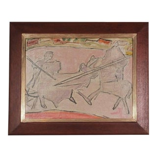 "Mid-Century Modernist ""The Bull Fight"" Oil Painting For Sale"