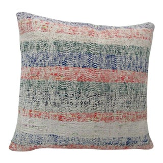 Handmade Striped Turkish Kilim Pillow For Sale