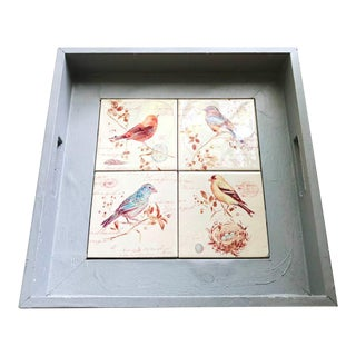 Vintage Wooden Tray with Bird Tiles For Sale