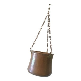 Vintage Copper Cauldron With Hanging Chain and Hook For Sale