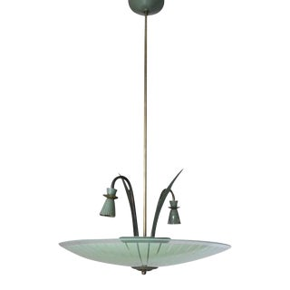 Green Frosted Glass Pendant Light by Stilnovo For Sale