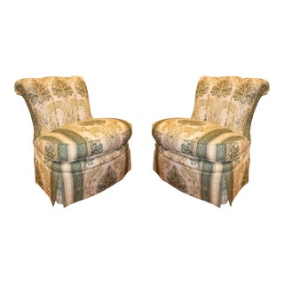 Century Lt Designs Armless Skirted Slipper Chair- a Pair For Sale
