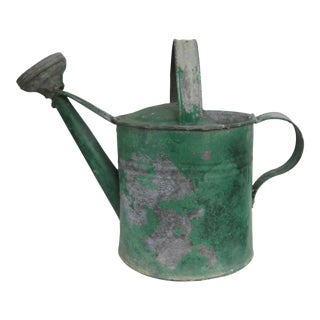 Vintage Metal Green Watering Can For Sale