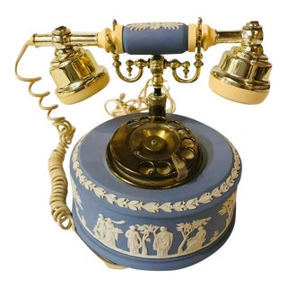 1980s Wedgwood Jasperware Blue Rotary Dial Telephone Astral Vintage For Sale