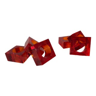 Set of Six Vintage 1970s Red Lucite Napkin Rings For Sale