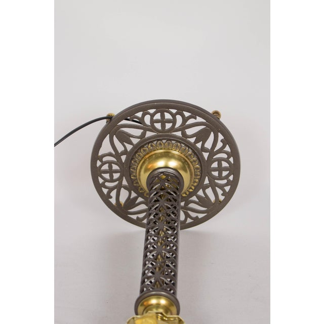 Cast Iron and Brass Filigree Lamp For Sale - Image 4 of 7