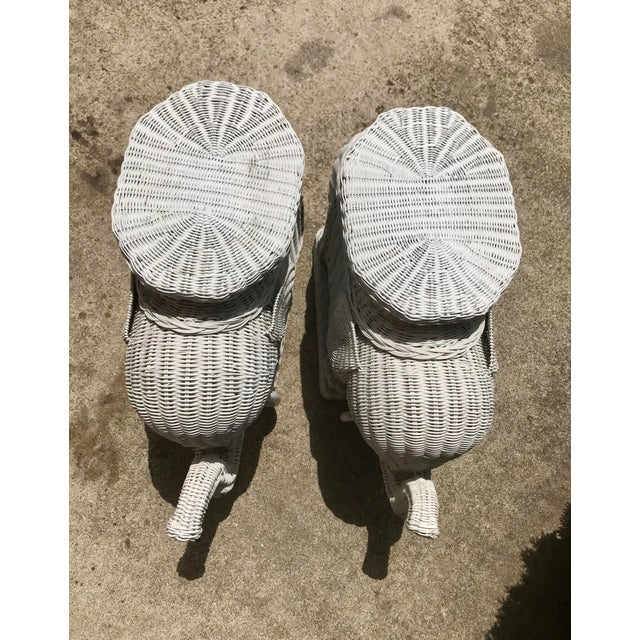 Vintage 1960's White Wicker Elephant Plant Stands / Side Tables - a Pair For Sale In Indianapolis - Image 6 of 7