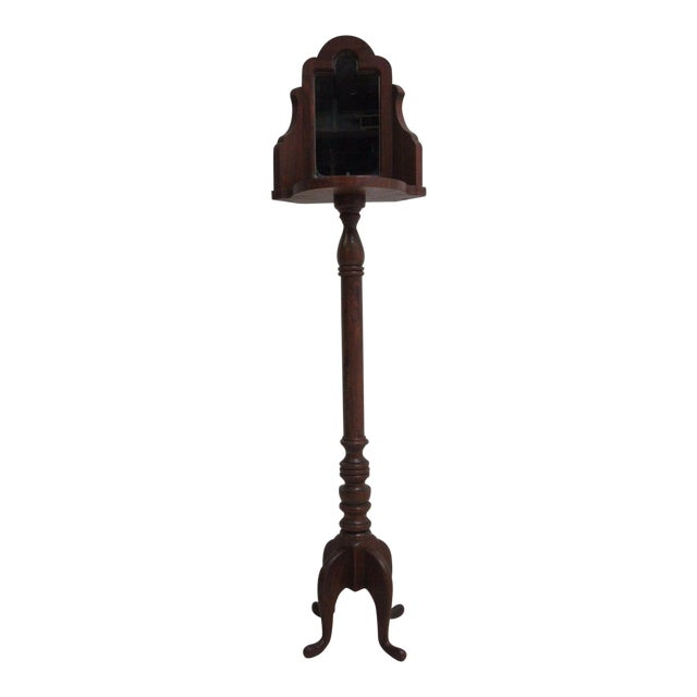 Vintage Pine Carved Pedestal Shaving Mirror Stand Cheval - Image 1 of 4