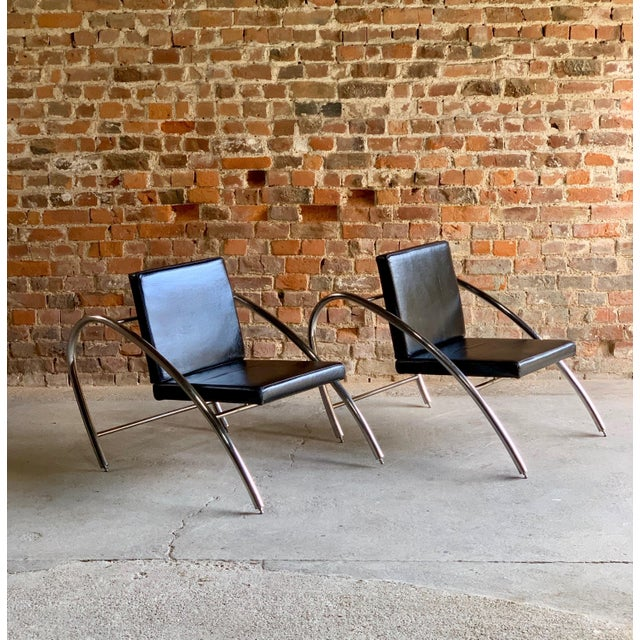 Moreno Chrome & Leather Lounge Chairs by Francois Scali & Alain Domingo for Nemo - A Pair For Sale - Image 10 of 12