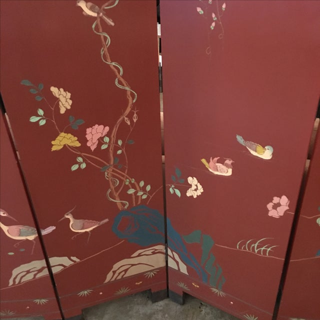 Signed Mid Century Modern Maitland Smith Four-Panel Asian Themed Wood & Brass Screen - Image 3 of 11