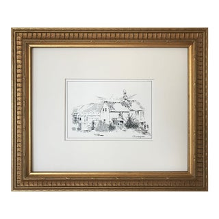 "Antique English Pen & Ink Cottage Landscape Drawing ""Marazion"" C.1900 For Sale"