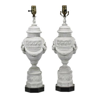 Antique Bisque Porcelain Lamps - A Pair