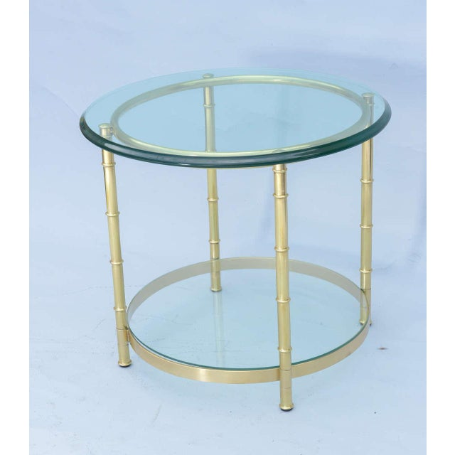 Mid-Century Modern Polished Brass Faux Bamboo End Table For Sale - Image 3 of 11