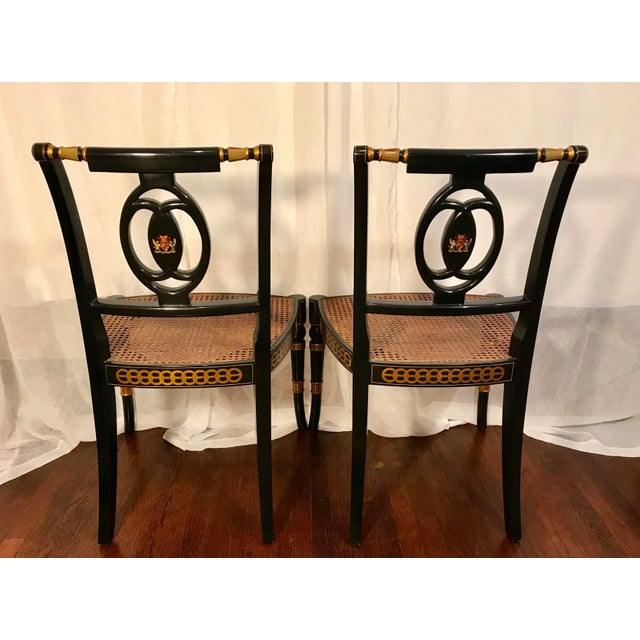 Traditional Early 20th Century Hand Painted Black Lacquered Regency Chairs- a Pair For Sale - Image 3 of 11