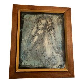 Vintage Etienne Ret Blue Nude Cubist Oil Painting For Sale