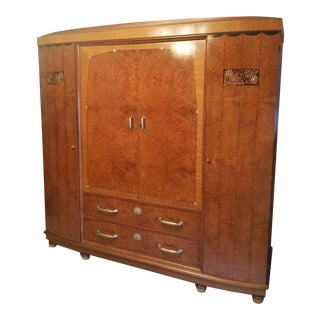 French Art Deco Inlaid Thuya Wood Armoire, Attributed to Maurice Dufrène For Sale
