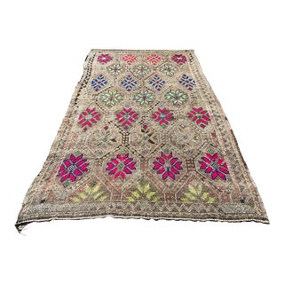 Handmade Decorative Turkish Kilim Rug - 5′7″ × 9′11″ For Sale