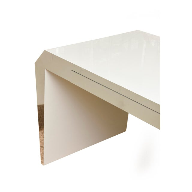 Monumental White Lacquered Wood and Stainless Steel Sculptural Desk For Sale - Image 4 of 8