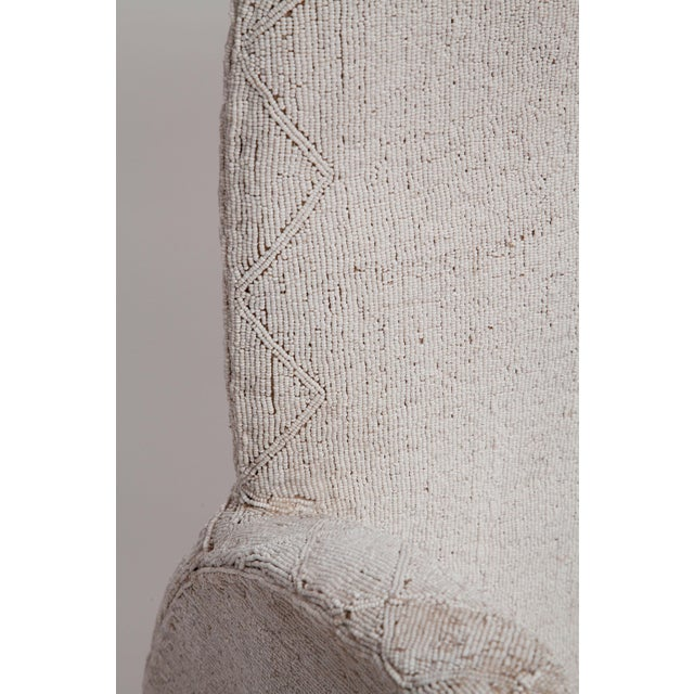 Cotton Pair of White Beaded Nigerian Tribal Chairs For Sale - Image 7 of 10