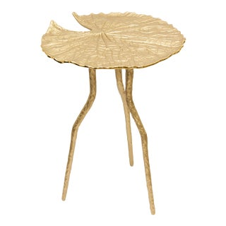 Lilly Gold Petal Shaped Side Table For Sale