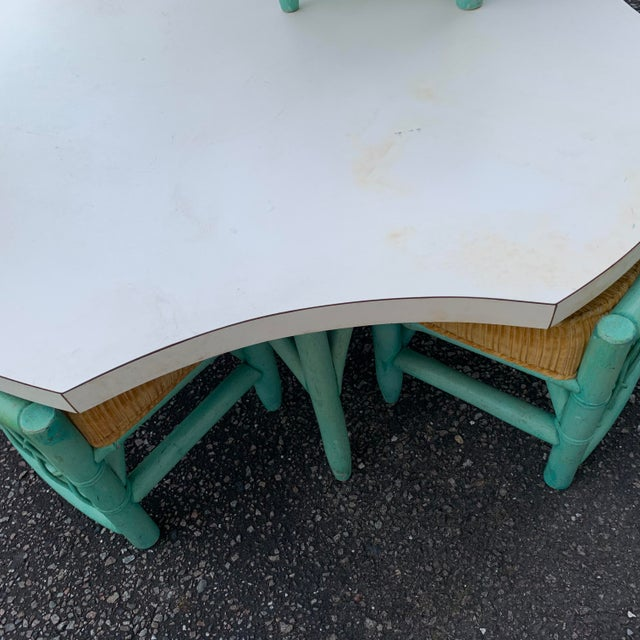 Vintage Regency Palm Beach Bamboo Table and Chairs - 5 Pieces For Sale - Image 9 of 13