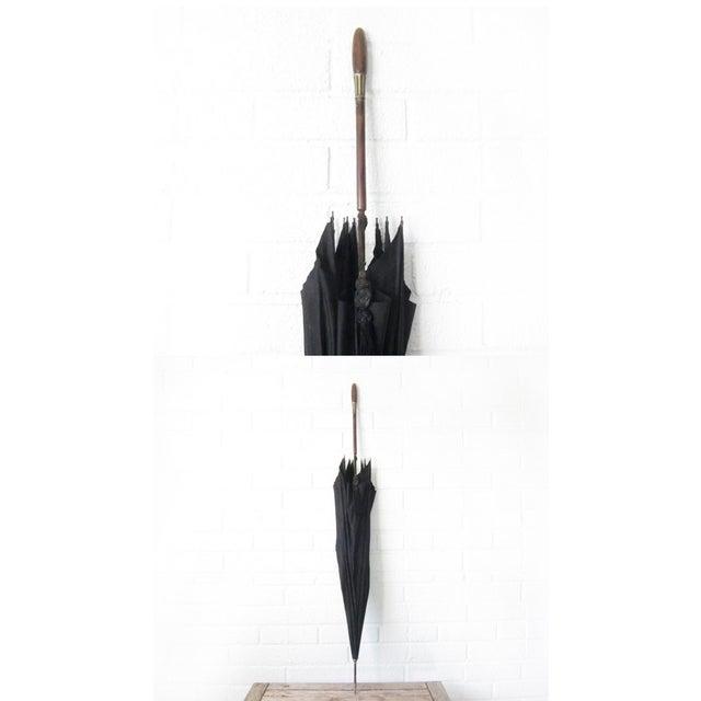 Antique Edwardian Mens Silk Parasol Black Umbrella - Image 5 of 6