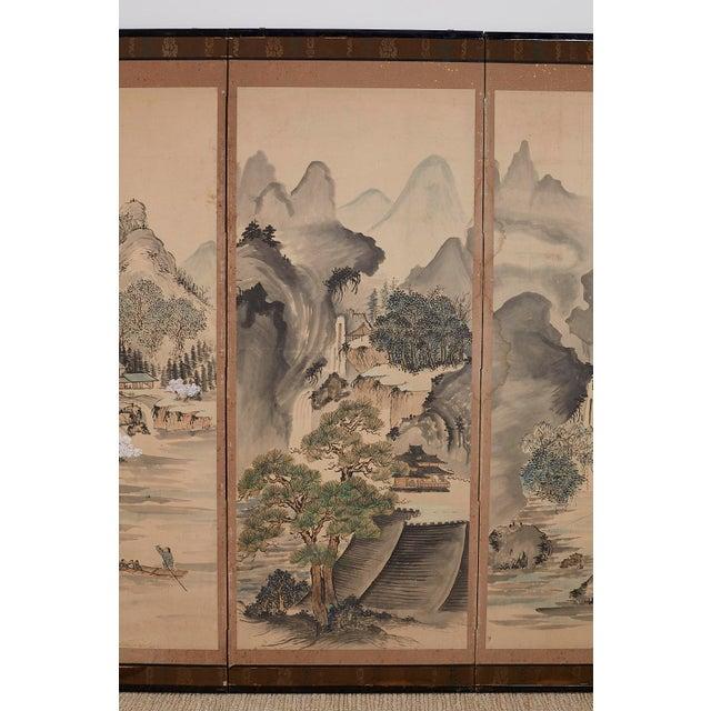Japanese Six Panel Meiji Landscape Screen For Sale - Image 4 of 13