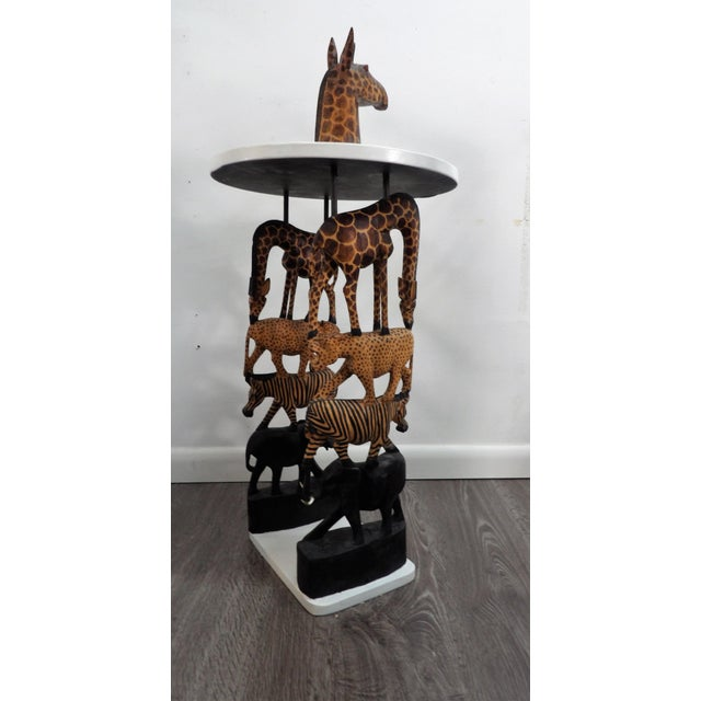 1980s African Safari Style Stacked Carved Animal Accent Side Table For Sale - Image 5 of 5