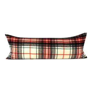 Graphic Plaid Wool Bed Throw Pillow