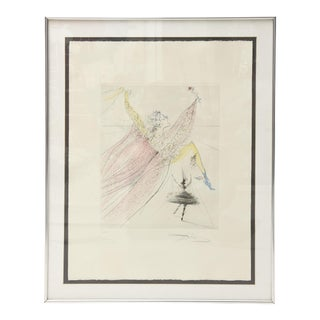 """Salvador Dalí """"Deesse De La Danse"""" Original Drypoint Etching & Watercolor"""
