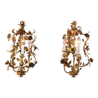 A Pair of Circa 1920 Italian Florentine Gold Gilt Floral Chandeliers For Sale