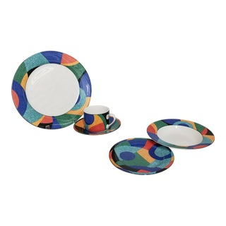 1990's Postmodern Victoria & Beale Accent Dinnerware Service for 6 - 30 Piece Set For Sale